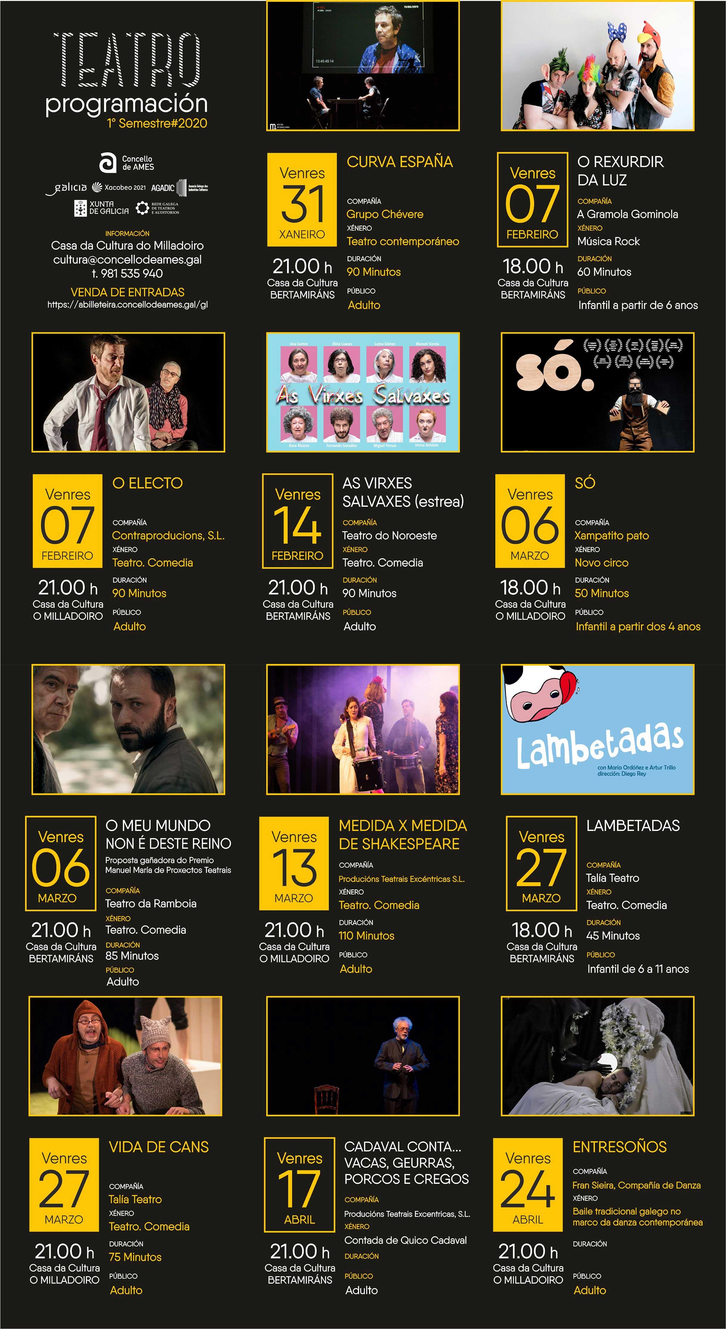 Programa de teatro en Ames 1º semestre 2020