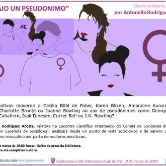 Bajo un pseudónimo, Charla-coloquio_Biblioteca Pública da Coruña MG Garcés