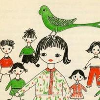 Unha das ilustracións interiores da primeira edición de <em>Mar adiante</em> (Ediciós do Castro, 1973), realizadas pola propia María Victoria Moreno.