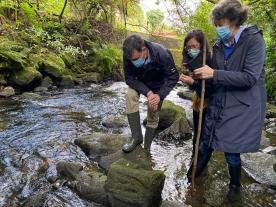 A Xunta de Galicia realiza unha actuación de urxencia para recuperar do río Sar a talla dunha posible virxe gótica