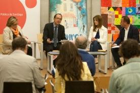 """O secretario xeral de Cultura, Anxo Lorenzo, e a directora xeral de Comercio, Sol Vázquez, presentaron en rolda de prensa o programa 'Venres nas librarías"""""""